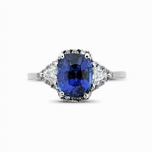 Sapphire & Diamond Three Stone Cluster Ring - 2.00ct